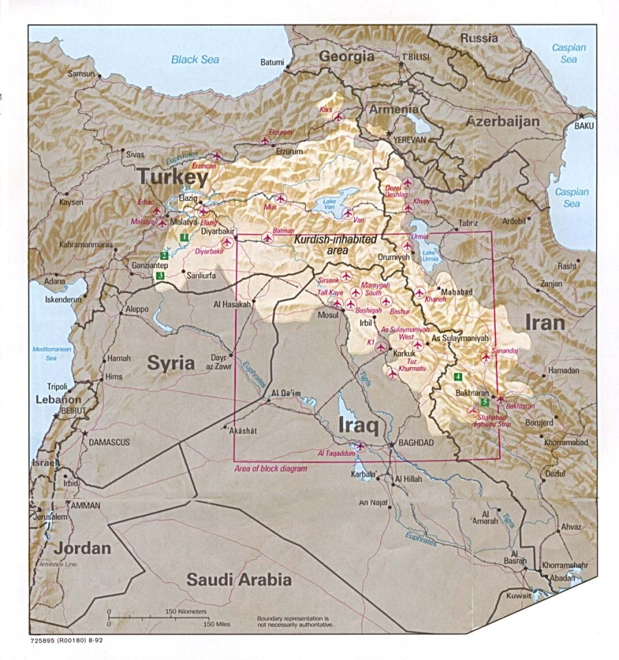 All of the Kurdish region (light colored)- spread over Iraq, Iran, Turkey, and Syria. If you look closely in the northeast corner of Iraq, you'll see Suleimaniah where I'll be living.