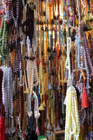 Prayer beads for sale in the Duhok bazaar.
