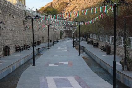 Newroz decorations (Kurdish flags) are still up.