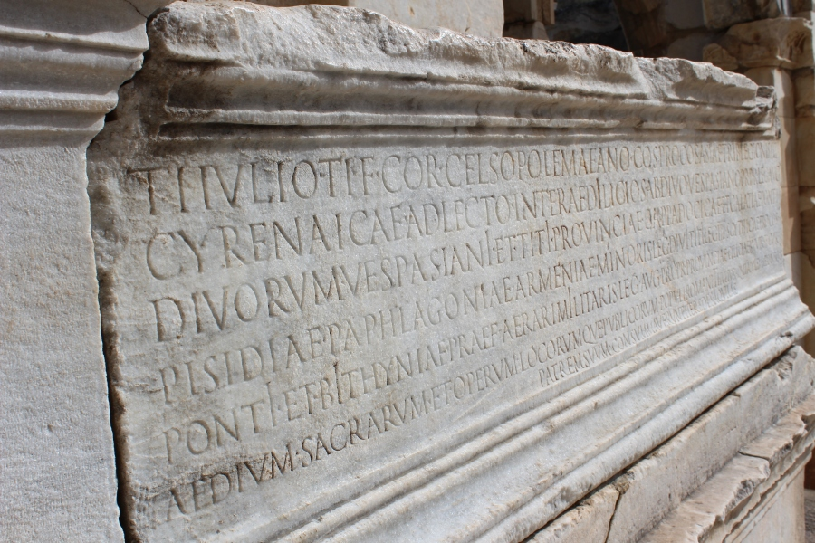 Latin inscription at the Celsus Library.