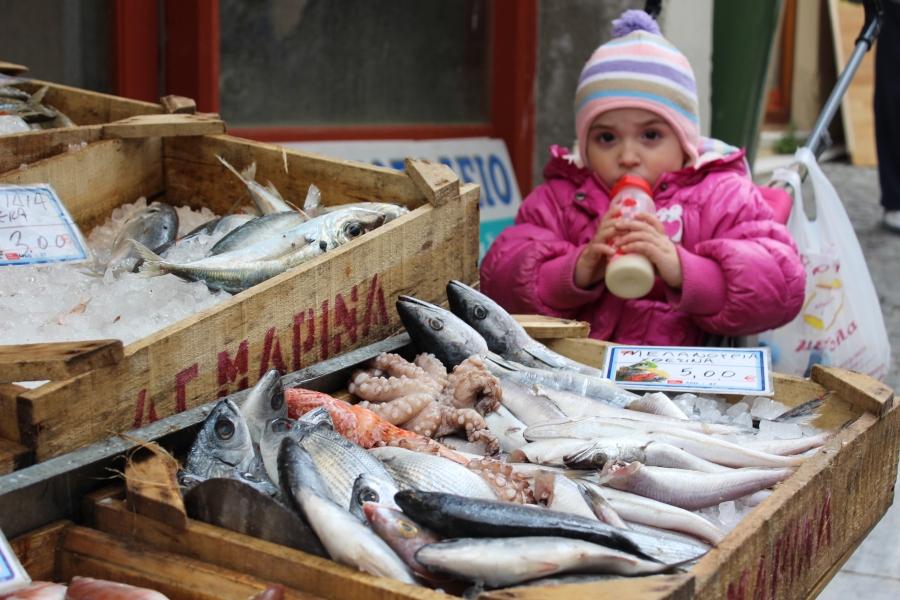 Fish market in Mytilini.