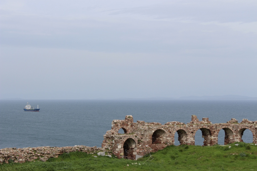 View of the old harbor from Mytilini Castle.
