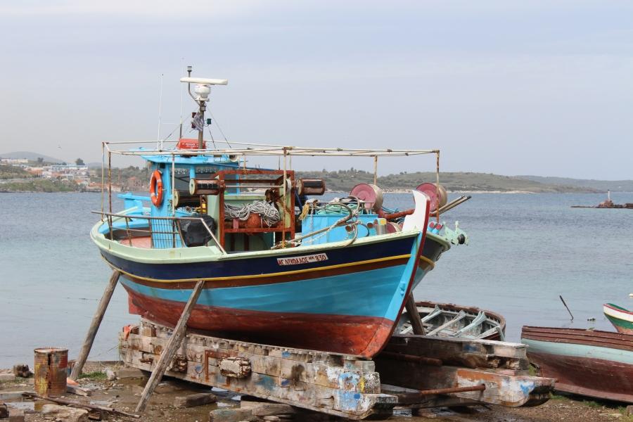 Boat at the old harbor, Mytilini.