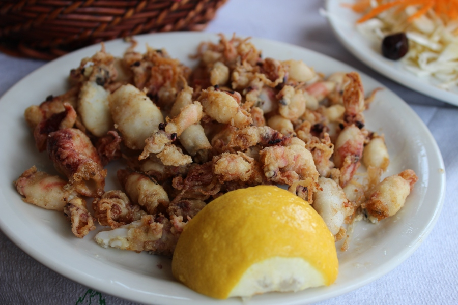 calamari, complete with tiny tentacles.