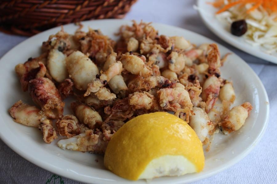 calamari, complete with tiny tentacles.