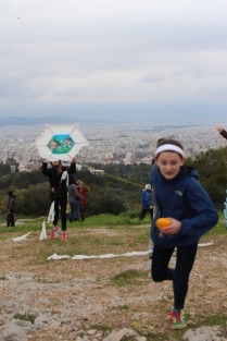 Flying kites in Athens