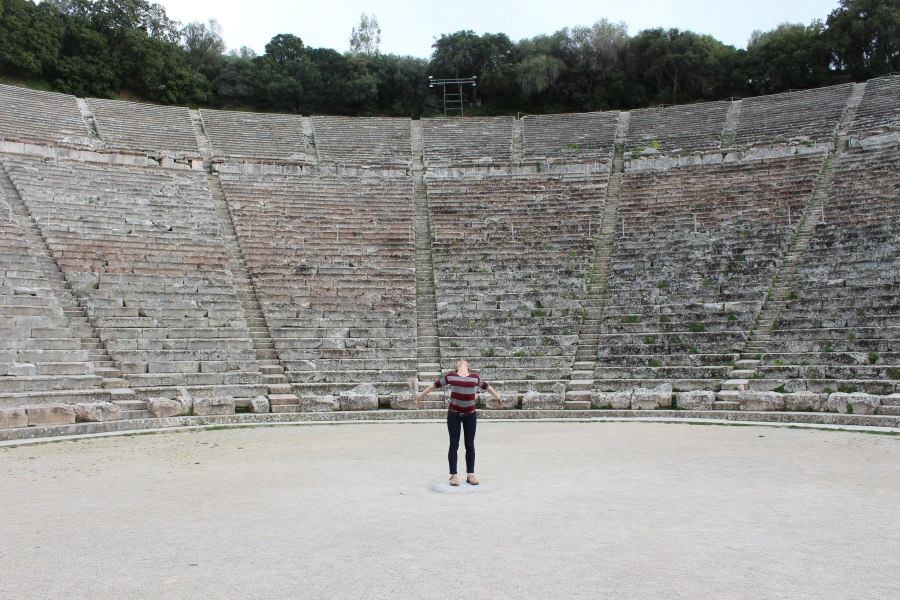 """Singing"" in the theatre at Epidavros."