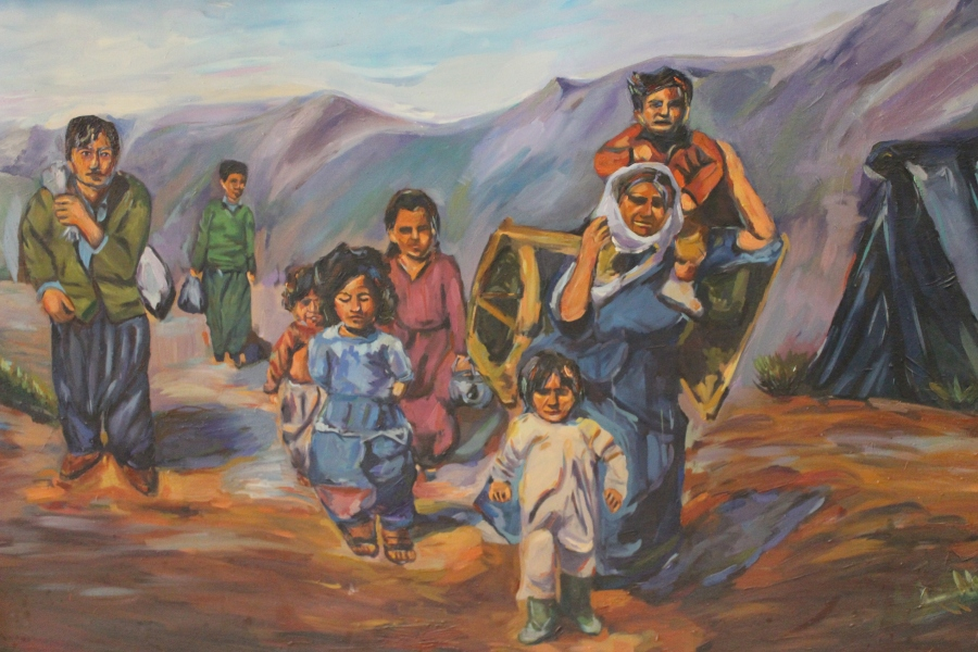 A painting of Kurds fleeing Halabja after the cyanide bombs in the 80s. Made by one of Parez's peers at art school.