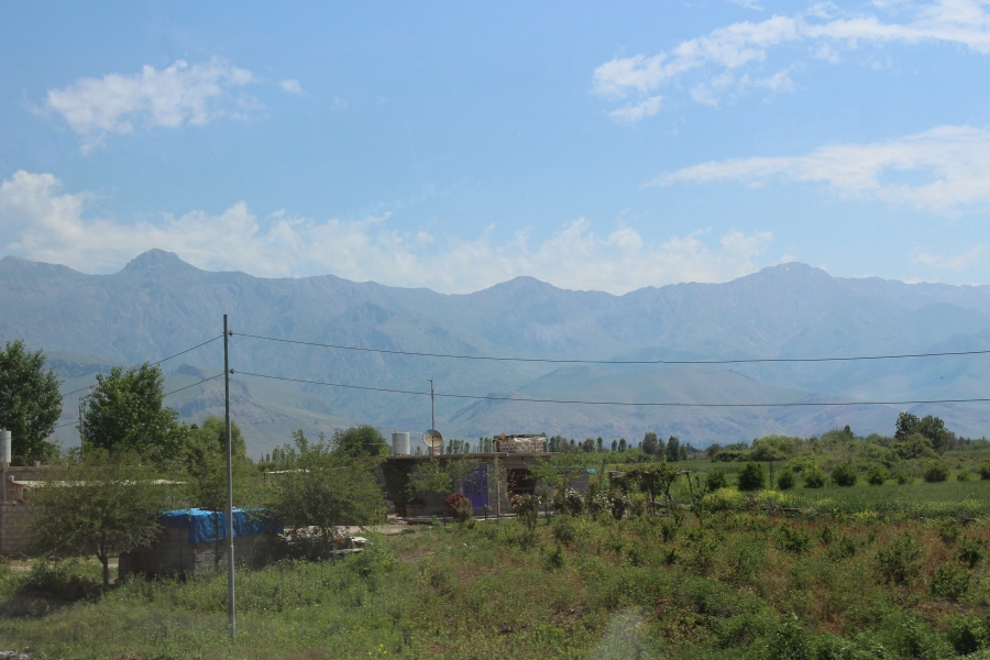 View of Halabja in the spring. The mountains are getting more rugged as we drive eastward and approach Iran.