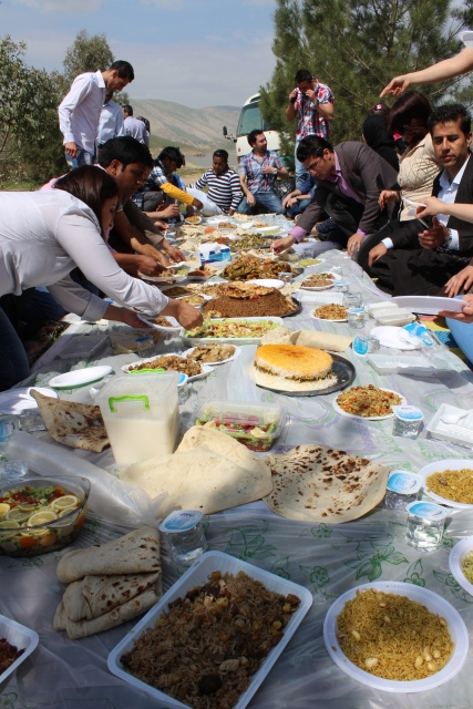A veritable Kurdish feast at a seyran (picnic).