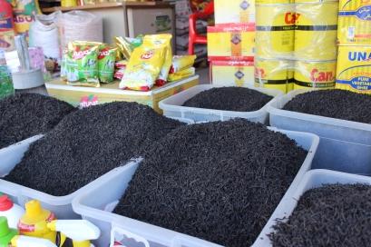 bulk tea in the bazaar. Ceylon.
