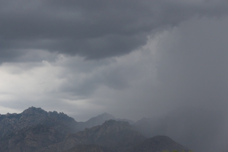 A monsoon's coming over the mountains.