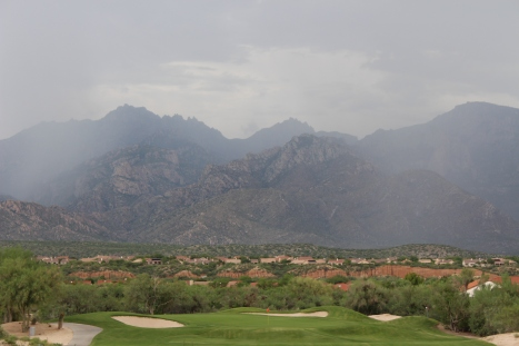 Monsoon clouds approaching the golf cours.