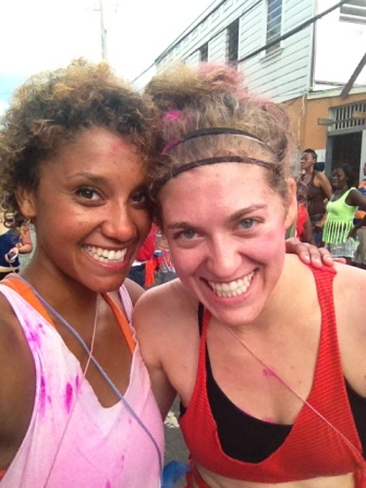 Alisha & Rachel at morning jouvert, post-pink powder.