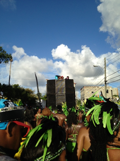 BIG SPEAKERS. Tian Winters, this awesome Antiguan soca artist, was singing on top of them.