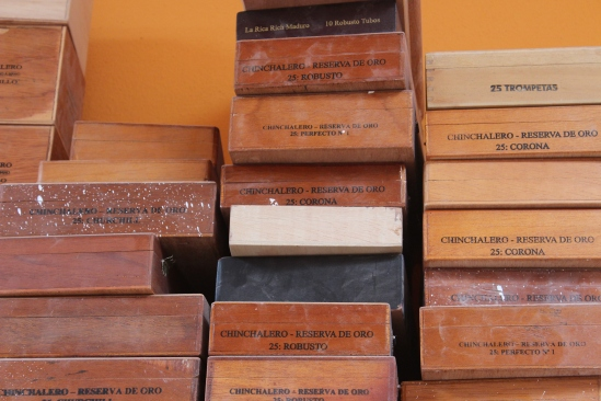 Cigar boxes.