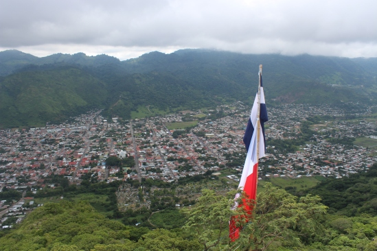 View of Jinotega (and its flag) from the hills.