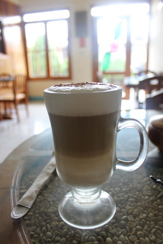 "A wonderful ""capuchino"" in the Flor de Jinotega cafe. It's widely agreed upon that Flor de Jinotega serves the best coffee in Nicaragua."