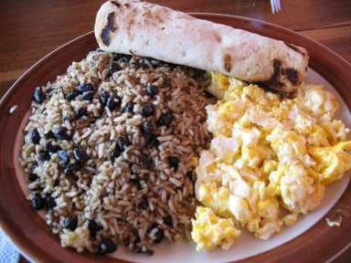 Gallo Pinto served with a tortilla and huevos revueltos (scrambled eggs)